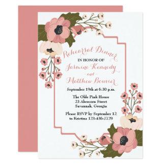 Cartão Flores florais da aguarela do rosa do jantar de
