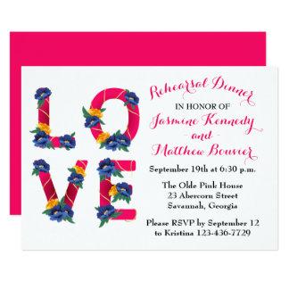 Cartão Flores florais do azul do amor do rosa do jantar