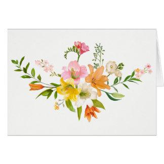 Cartão Flores florais do lírio - cor-de-rosa, alaranjado,