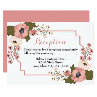 Cartão Flores florais do rosa da aguarela da recepção de