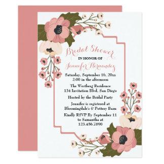 Cartão Flores florais do rosa da aguarela do chá de