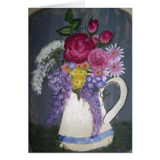"""Cartão """"Flores no jarro """""""