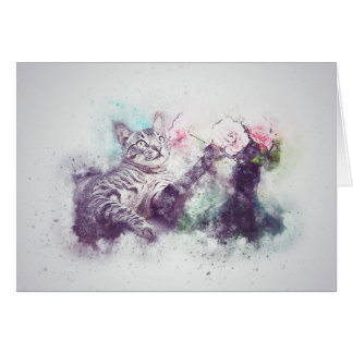 Cartão Flores para a aguarela do abstrato | do gatinho |