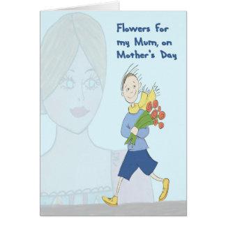 Cartão Flores para a mãe no dia das mães do filho novo