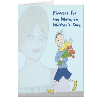 Cartão Flores para a mamã no dia das mães do filho