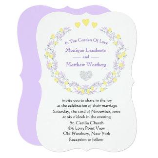Cartão Flores para casamentos florais & corações roxos &