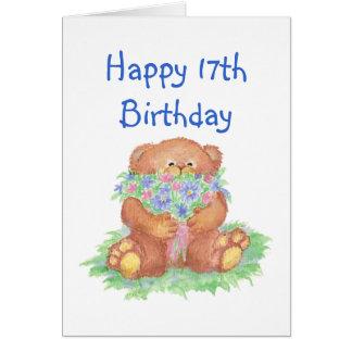 Cartão Flores para o 17o aniversário, urso de ursinho