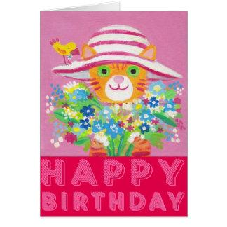 Cartão flores para você gato bonito do jardineiro
