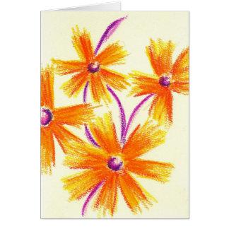 Cartão Flores Pastel roxas alaranjadas
