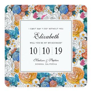 Cartão Flores pintados mão azuis & alaranjadas - dama de