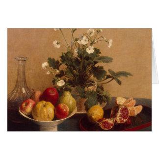 Cartão Flores, prato com fruta e carafe, 1865