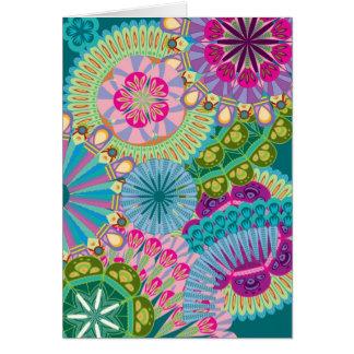 Cartão flores psychadelic da pena