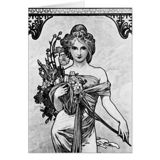 Cartão Flores quebradas Mucha de Alphonse