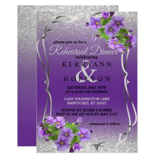 Cartão Flores roxas & brilho da prata - jantar de ensaio