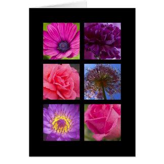 Cartão - flores roxas cor-de-rosa