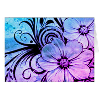 Cartão Flores roxas e azuis