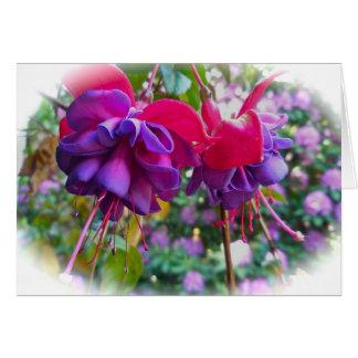 Cartão Flores roxas vermelhas de Fushia