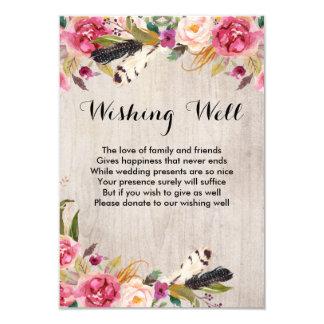 Cartão Flores rústicas e penas que desejam bem