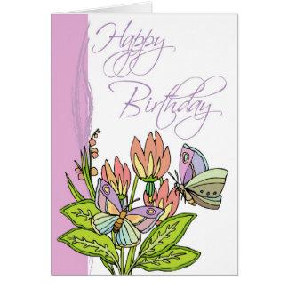 Cartão Flores selvagens e borboletas