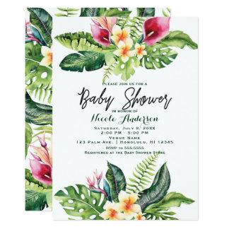 Cartão Flores tropicais & chá de fraldas floral das