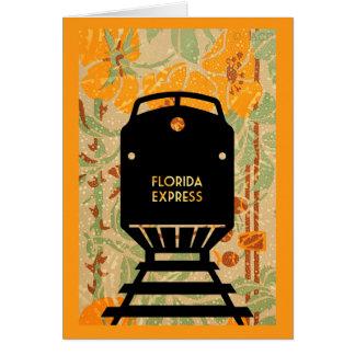 Cartão Flores tropicais da silhueta do trem expresso de