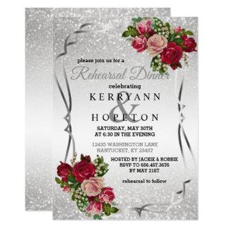 Cartão Flores vermelhas & brilho da prata - jantar de