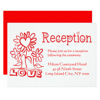 Cartão Flores vermelhas florais & corações do amor da