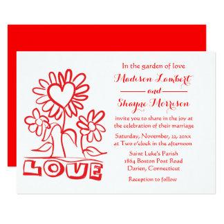 Cartão Flores vermelhas florais & corações do amor do