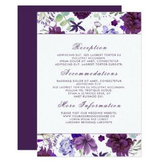 Cartão Flores violetas da ameixa que Wedding o convidado