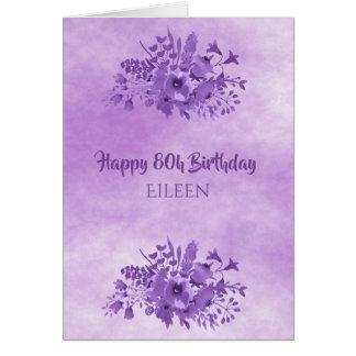 Cartão flores watercolored ultravioleta do aniversário do