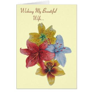 Cartão floresce o verso floral do original da esposa dos