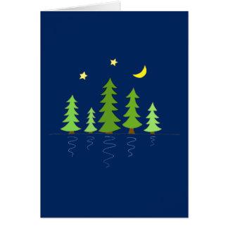 Cartão Floresta da meia-noite com estrelas e lua das