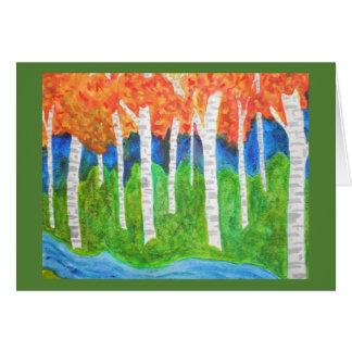 Cartão Floresta de Aspen da aguarela