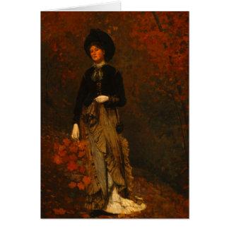 Cartão Floresta do outono com mulher de vagueamento