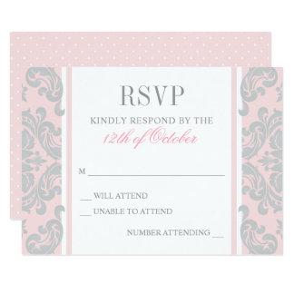 Cartão Flourish de prata elegante cor-de-rosa do baptismo