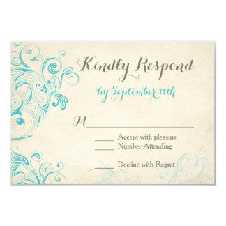 Cartão Flourish rústico do Aqua do vintage que Wedding