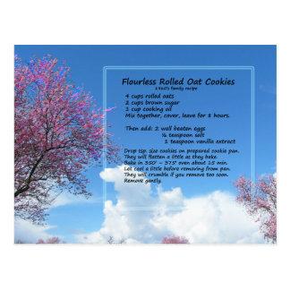 Cartão Flourless da receita do biscoito da aveia