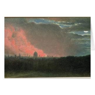 Cartão Fogo em Londres vista de Hampstead (óleo no papel