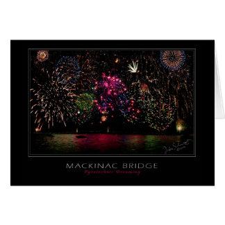 Cartão Fogos-de-artifício da ponte de Mackinac
