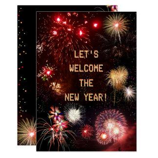 Cartão Fogos-de-artifício: Deixe-nos dar boas-vindas ao