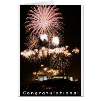 Cartão Fogos-de-artifício dos parabéns!