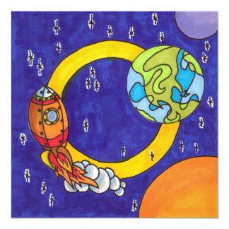 Cartão Foguete de órbita no céu nocturno