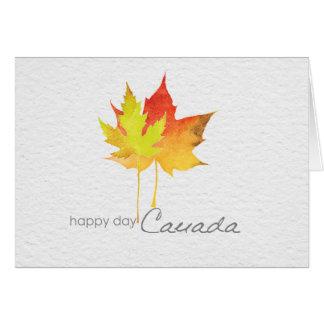 Cartão Folha de bordo feliz da aguarela do dia de Canadá