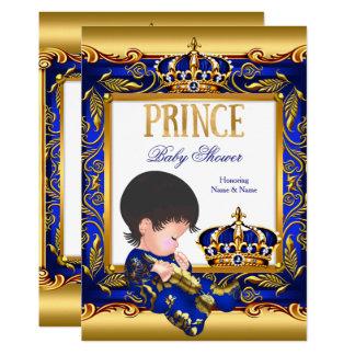 Cartão Folha de ouro azul do príncipe chá de fraldas