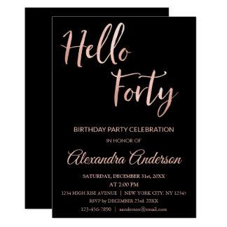 Cartão Folha de ouro cor-de-rosa olá! festa de
