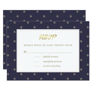 Cartão Folha de ouro dos azuis marinhos   que Wedding