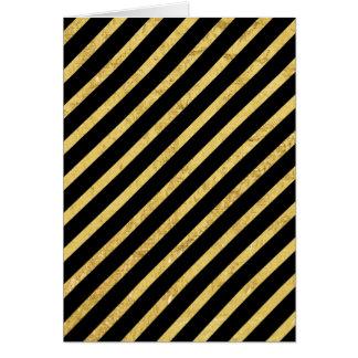 Cartão Folha de ouro e teste padrão diagonal preto das