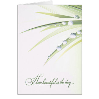 Cartão folha do casamento com gotas de água