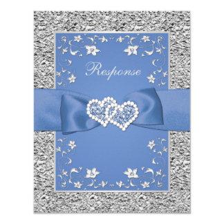 Cartão Folha floral de prata azul do FALSO dos corações
