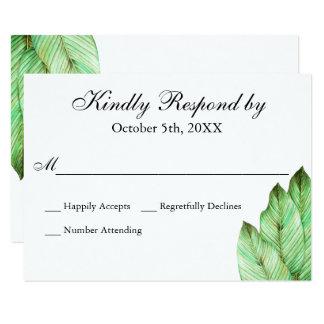 Cartão Folha RSVP Wedding tropical da aguarela